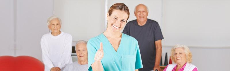 nurse and elderly smiling