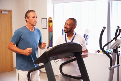 patient using treadmill